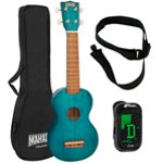 Mahalo 2500 Kahiko Series in Blue Soprano Ukulele with Digital Tuner and Strap