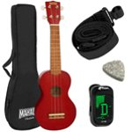 Mahalo 2500 Kahiko Series Red Soprano Ukulele and Accessories Pack