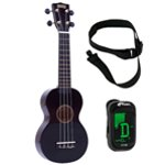 Mahalo Ukulele in Black with Digital Tuner and Strap