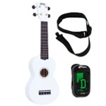 Mahalo Ukulele in White with Digital Tuner and Strap