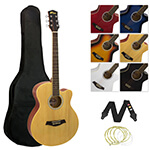 Tiger ACG3-NT Full Size Natural Single Cutaway Acoustic Guitar with Gig Bag, Spare Strings and Strap