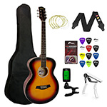 Tiger Beginners Acoustic Guitar Package - Sunburst