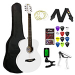 Tiger Beginners Acoustic Guitar Package - White