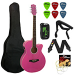 Tiger Beginners Electro Acoustic Guitar Package - Pink