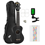 Beginners Soprano Ukulele in Black & Clip-On Tuner Kit