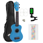 Beginners Soprano Ukulele in Blue & Clip-On Tuner Kit