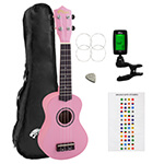 Beginners Soprano Ukulele in Pink & Clip-On Tuner Kit