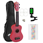 Beginners Soprano Ukulele in Red & Clip-On Tuner Kit