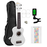Beginners Soprano Ukulele in White & Clip-On Tuner Kit