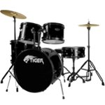 B Grade - Tiger Full Size Drum Set in Black - Damaged Boxes