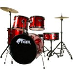 B Grade - Tiger Full Size Drum Set in Red - Damaged Boxes