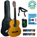 Tiger 3/4 Classical Guitar with Nylon Strings including Bag, Plectrums, Capo, Tuner and A Tune A Day For Classical Guitar Book 1