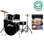 Tiger Full Size 5 Piece Drum Kit - Black with Absolute Beginners Drums Book & CD