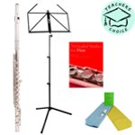 Odyssey OFL100 Debut Flute Outfit with Case including Woodwind Care Kit, Folding Music Stand and 76 Graded Studies For Flute - Book One