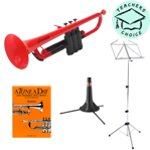 pTrumpet Bb Plastic Trumpet Pack in Red - Including Stand, Music Stand and Tutition Book