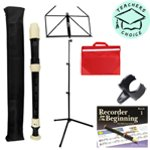 Tiger 3 Piece Descant Recorder including Thumb Rest, Folding Music Stand, Sheet Music Bag and Recorder From The Beginning Book 1