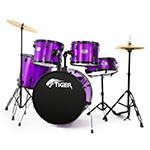 Tiger Acoustic Drum Kit - Full Size Drum Set in Purple