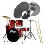 Tiger Red Full Size Drum Kit Pack with Drum Silencer Pads