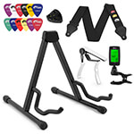 Guitar Gift Pack - Guitar Stand, Picks, Strap, Tuner and Capo