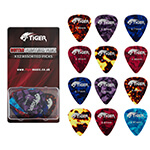 Tiger Celluloid Guitar Picks - Pack of 12 Guitar Plectrums Light-Heavy (0.46 - 0.81mm)