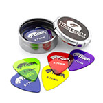 Tiger Guitar Plectrums with Pick Tin - 12 Gel 0.71mm Guage Guitar Picks