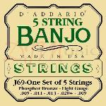 Daddario 5-String Banjo Bronze Set Light