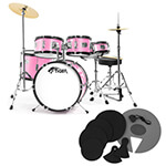 Tiger Junior 5 Piece Pink Drum Kit with Silencer Pads