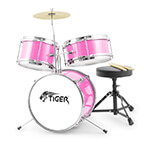 Jasmin Pink Junior Drum Kit - 3 Piece Drum Set, Sticks & Stool