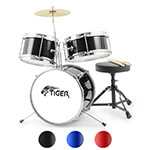 3 Piece Junior Drum Kit by Tiger - Stool & Sticks Included - Ideal Childrens Drum Set