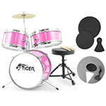 Jasmin 3 Piece Pink Junior Drum Kit with Silencer Pads - Ideal Childrens Drum Set