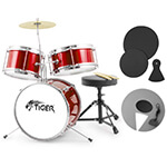 Tiger 3 Piece Red Junior Drum Kit Pack - Ideal Childrens Drum Set