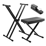 Tiger Keyboard Stand, Stool & Sustain Pedal Pack