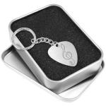 Engraved Guitar Pick Keyring - Metal Plectrum & Gift Box - Treble Clef Engraving