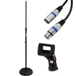 Tiger Black Adjustable Microphone Stand with Heavy Base Including Mic Cable & Mic Clip