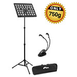 Tiger Lightweight Music Stand & 8x LED Music Light Pack with Bag