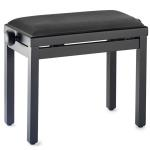 Stagg Black Piano Bench with Black Velvet Top