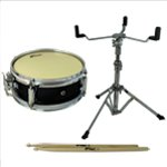Tiger Junior Snare Drum Pack - Including Snare, Stand & Sticks - Black 10 Inch