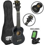 Mad About Beginner Soprano Ukulele in Black with FREE Uke Bag & Tuner