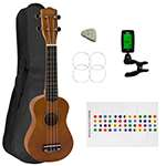Soprano Ukulele for Beginners in Natural with Uke Bag & Tuner