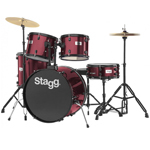 Stagg Red Drum Kit with Black Hardware