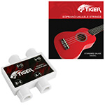 Tiger Ukulele Tuner Pitch Pipes and Soprano Ukulele String Set Pack