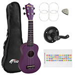 Tiger Purple Soprano Ukulele for Beginners with Ukulele Wall Mount
