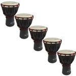 World Rhythm 5 Pack of 30cm Wooden Djembe Drums - 6\