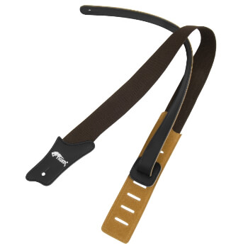 Brown Cotton Leather Ended Guitar Strap
