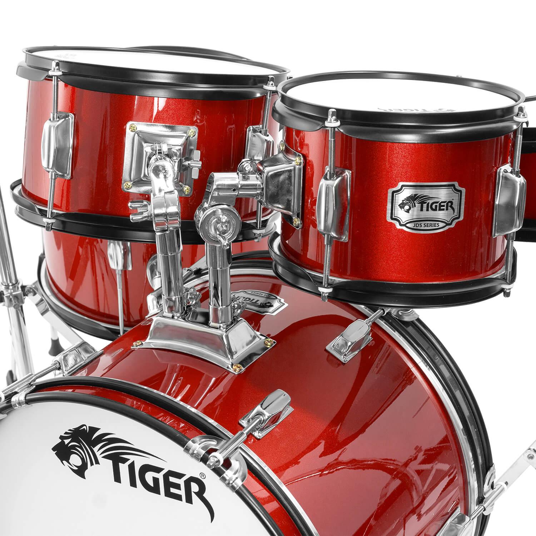 tiger junior drum kit for kids 5 piece childrens drum set with stool ebay. Black Bedroom Furniture Sets. Home Design Ideas