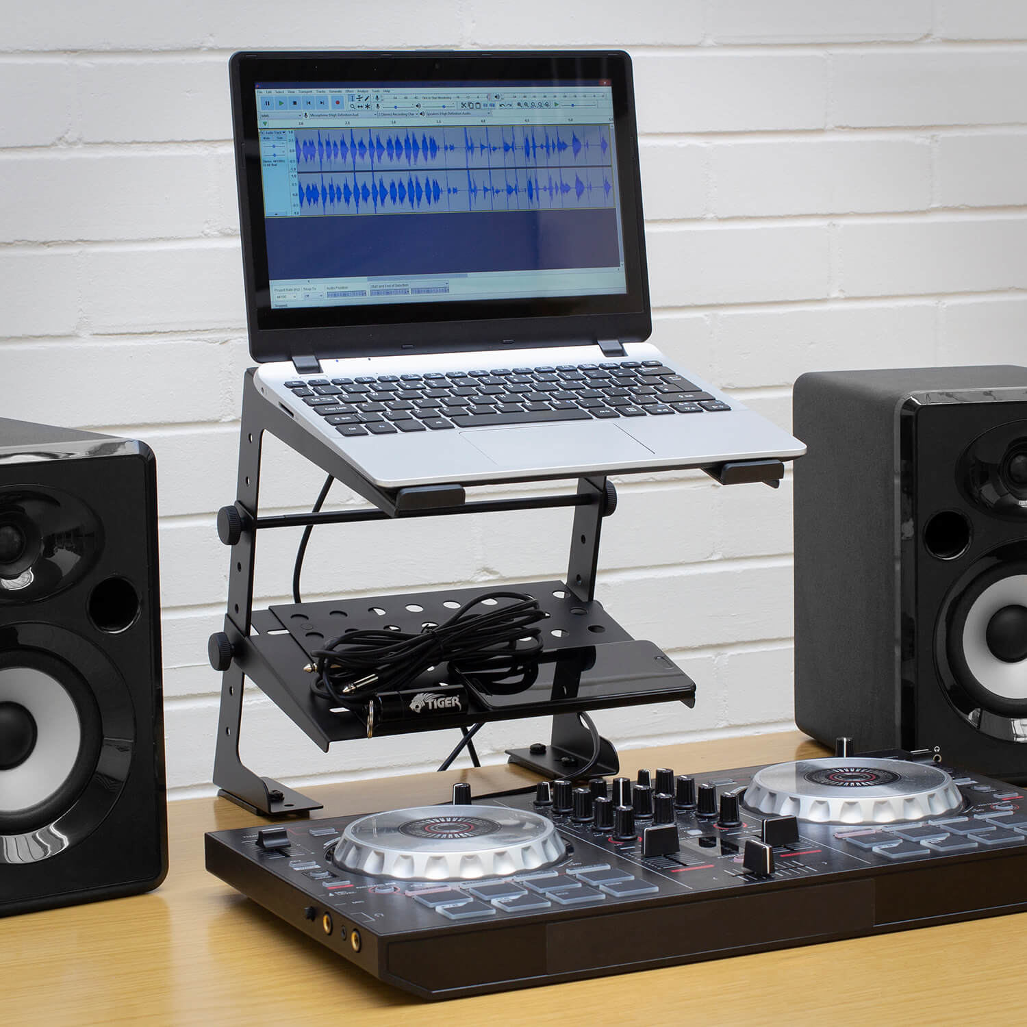Tiger-Laptop-Stand-DJ-Stand-with-Shelf-and-Desktop-Clamps thumbnail 7