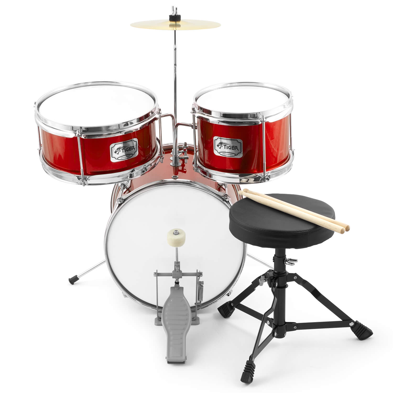 tiger 3 piece junior drum kits drum sets for kids with stool sticks cymbal ebay. Black Bedroom Furniture Sets. Home Design Ideas