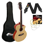 Tiger 3/4 Size Acoustic Guitar for Beginners Guitar - Natural