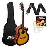 Tiger 3/4 Size Acoustic Guitar for Beginners Guitar - Sunburst