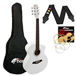 Tiger 3/4 Size Acoustic Guitar for Beginners Guitar - White